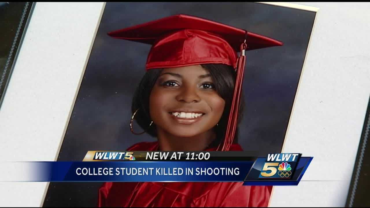 The family of a 19-year-old college student who was killed in a violent shooting said she was not the target.