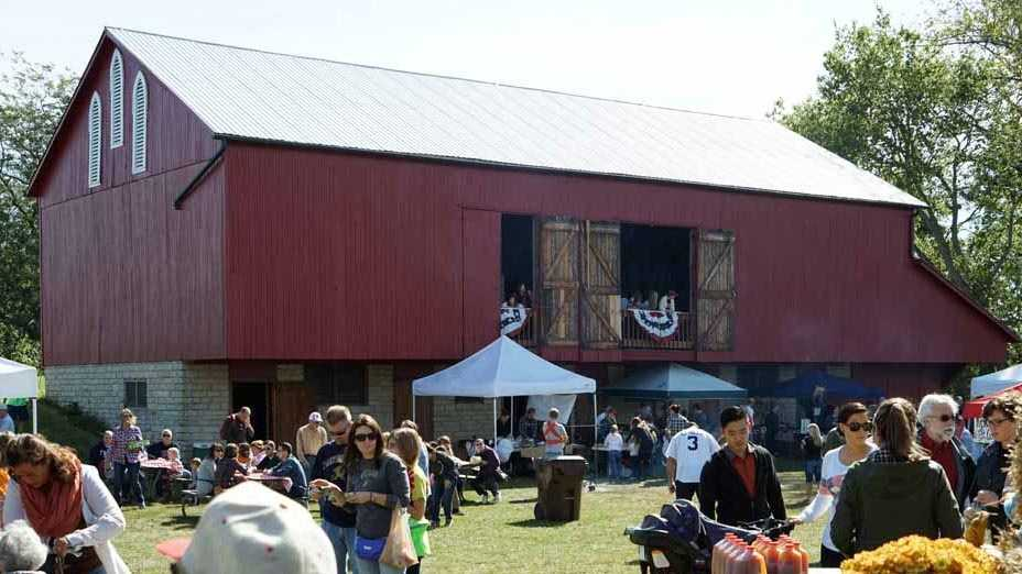 An 1840s dairy barn moved from Trotwood, Ohio, to the Pioneer Farm Museum in Oxford when the original barn burned in 1980. Seen here during the 2015 Apple Butter Festival.