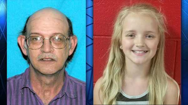 An Amber Alert has been issued for 9-year-old Carlie Trent (right), who is believed to have been abducted by her uncle Gary Simpson (left).