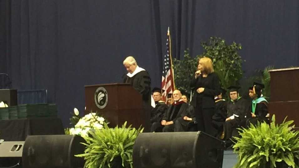 Cincinnati businessman and Reds baseball team principal owner Bob Castellini delivered the commencement address May 8, 2016 for Cincinnati State Technical and Community College ceremonies.