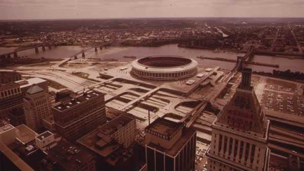Riverfront Stadium on the Ohio River, Photo via Environmental Protection Agency circa 1970