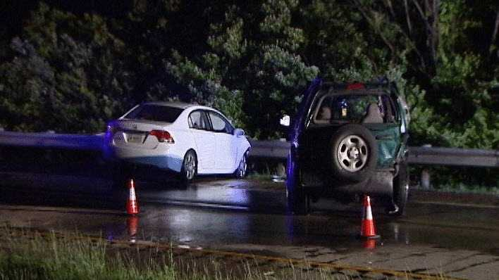 An 18-year-old woman and an adult man were injured in a crash on Interstate 74 late Saturday night.