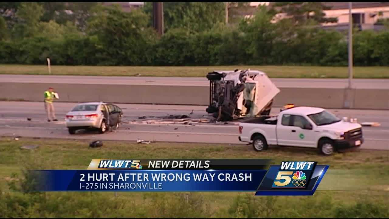 Two people were hurt when a car and a truck collided on I-275 on Tuesday morning.