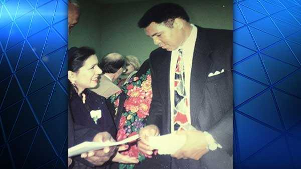 The late boxing great Muhammad Ali at the inauguration of the Islamic Center of Greater Cincinnati in November 1995 with now-president of the Islamic Center of Greater Cincinnati board Shakila Ahmad.