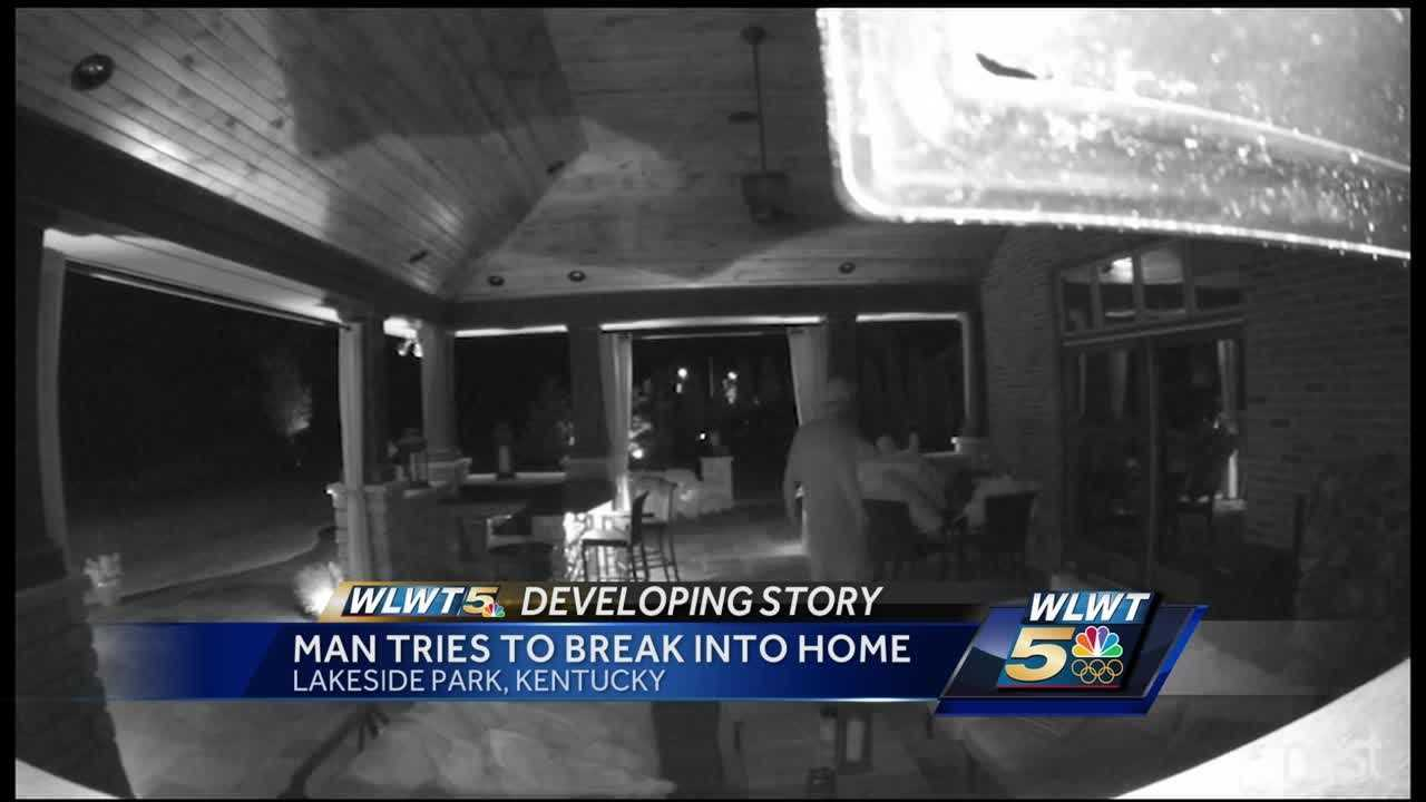 Home security cameras caught the suspect lurking around the patio Wednesday morning.