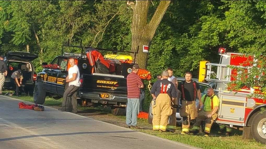 Emergency crews recovered a body from Sevenmile Creek in Hamilton, Ohio June 11, 2016.