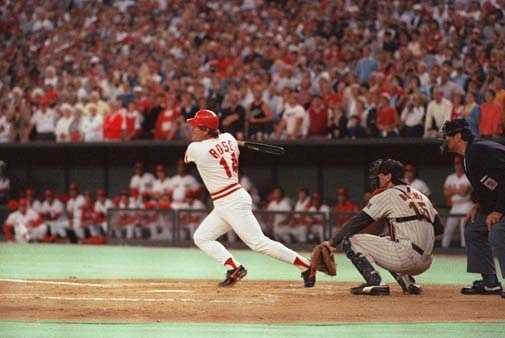 Cincinnati Reds Pete Rose hits a line drive, Sept.11,1985, to break Ty Cobb's all-time hit record.