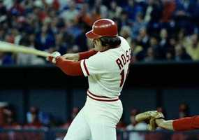 Pete Rose of the Cincinnati Reds is shown beating out a first inning single during action in Philadelphia, May 3, 1978. He singled to left field which put him three hits away from 3,000. He later got another hit and needs two on Friday to get 3,000.