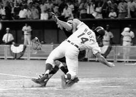 In this July 14, 1970, file photo, National League's Pete Rose collides with American League catcher Ray Fosse as he scores the winning run during the 12th inning of the 1970 All-Star Game in Cincinnati, Ohio. Fosse's body still aches all over 45 years later. He never did fully recover physically from one of most infamous plays in All-Star Game history.