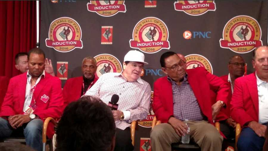 Pete Rose was inducted into the Cincinnati Reds Baseball Hall of Fame June 25, 2016.