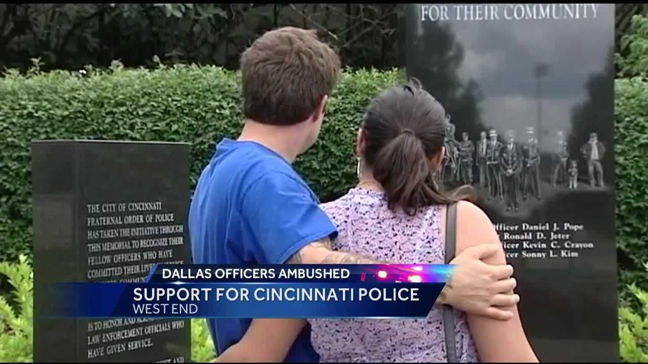 Cincinnati police are overwhelmed with community support after the deadly officer shootings in Dallas.