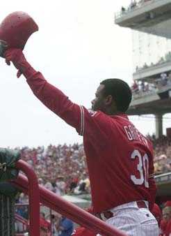 Cincinnati Reds' Ken Griffey Jr. acknowledges the crowd after he hit his second home run off Montreal Expos pitcher Livan Hernandez in the third inning Sunday, June 6, 2004, in Cincinnati. It was Griffey's 498th career home run.