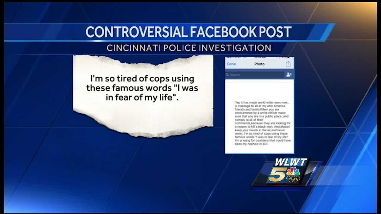 A Cincinnati police officer is under department review after the department said the officer posted a comment on Facebook.