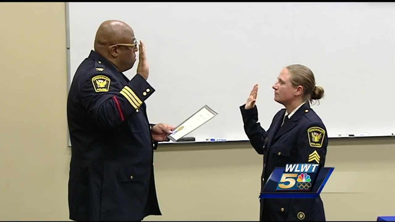 Cincinnati police swore in a new captain and sergeant Monday.