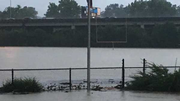Bellevue High School's football field was under water as deep as five or six feet July 28, based on the height of the goalpost pictured.