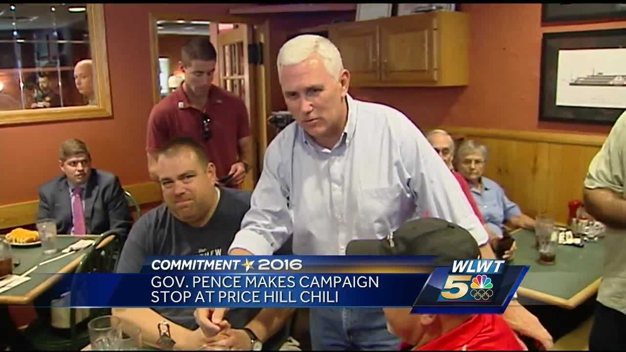Republican vice presidential candidate and Indiana Gov. Mike Pence grabbed a bite at Price Hill Chili Saturday.