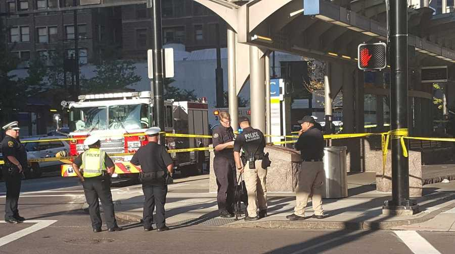 Cincinnati police officers are on the scene of an officer-involved shooting downtown.