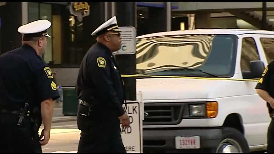 Cincinnati Police Chief Eliot Isaac arrives on the scene of a deadly officer-involved shooting at Government Square.