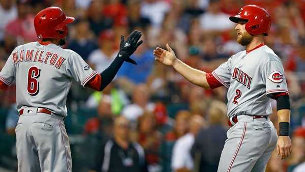 Cincinnati Reds' Billy Hamilton and Zack Cozart, right, celebrate after scoring on a single by Adam Duvall during the third inning of a baseball game against the St. Louis Cardinals, Tuesday, Aug. 9, 2016, in St. Louis. (AP Photo/Billy Hurst)