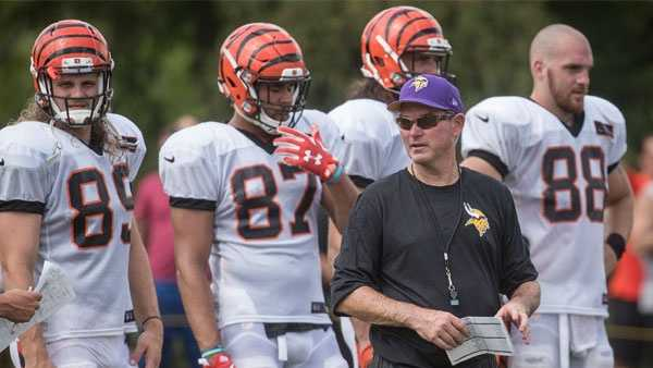 Minnesota Vikings head coach Mike Zimmer works the field during a joint NFL football practice with the Cincinnati Bengals, Wednesday, Aug. 10, 2016, in Cincinnati. (AP Photo/John Minchillo)