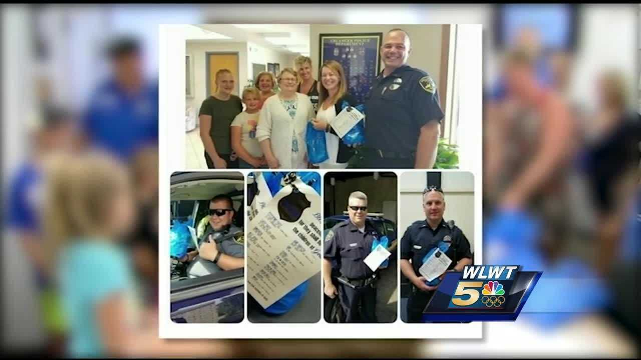 A simple gesture to say thank you to Cincinnati-area police officers is gaining momentum on social media.