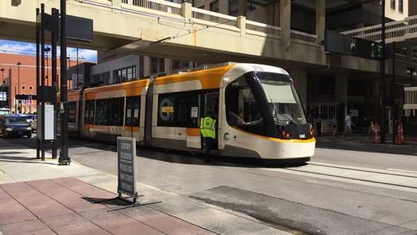 A streetcar collision was reported at 5th and Walnut streets in downtown Cincinnati Sunday.