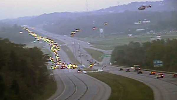 A medical helicopter comes in to land on I-275 to pick up a patient on Tuesday morning.