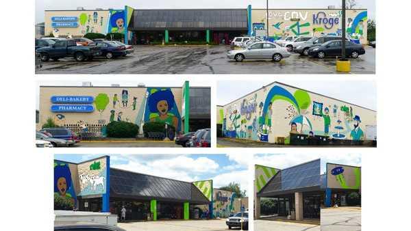 """Renderings of the """"Love the Cov"""" mural"""