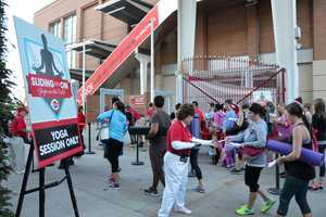 Hundreds of yogis took to the field at the Great American Ball Park Saturday, Sept. 3.