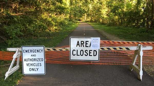 About three-quarters of a mile of the Little Miami Bike Trail closed Sept. 4 due to a sinkhole.
