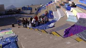 Spectators were allowed to set up blankets as early as 6 a.m. Saturday for Riverfest fireworks show Sunday night.