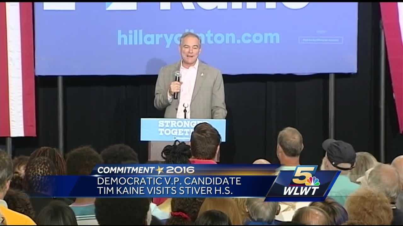 Hillary Clinton's running mate, Tim Kaine, was in Dayton on Monday afternoon, speaking at a rally at Stivers High School.