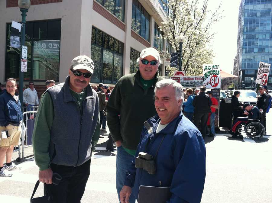 John Dennison, Marty Foley and Tom Delois getting ready to go into Fenway.