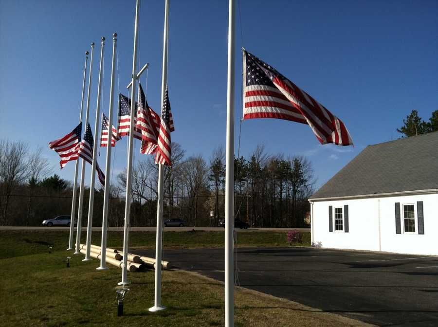 Flags are flying at half-staff