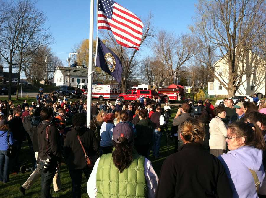 A vigil was held Friday evening for the 5 officers shot Thursday evening in the town of Greenland, N.H.
