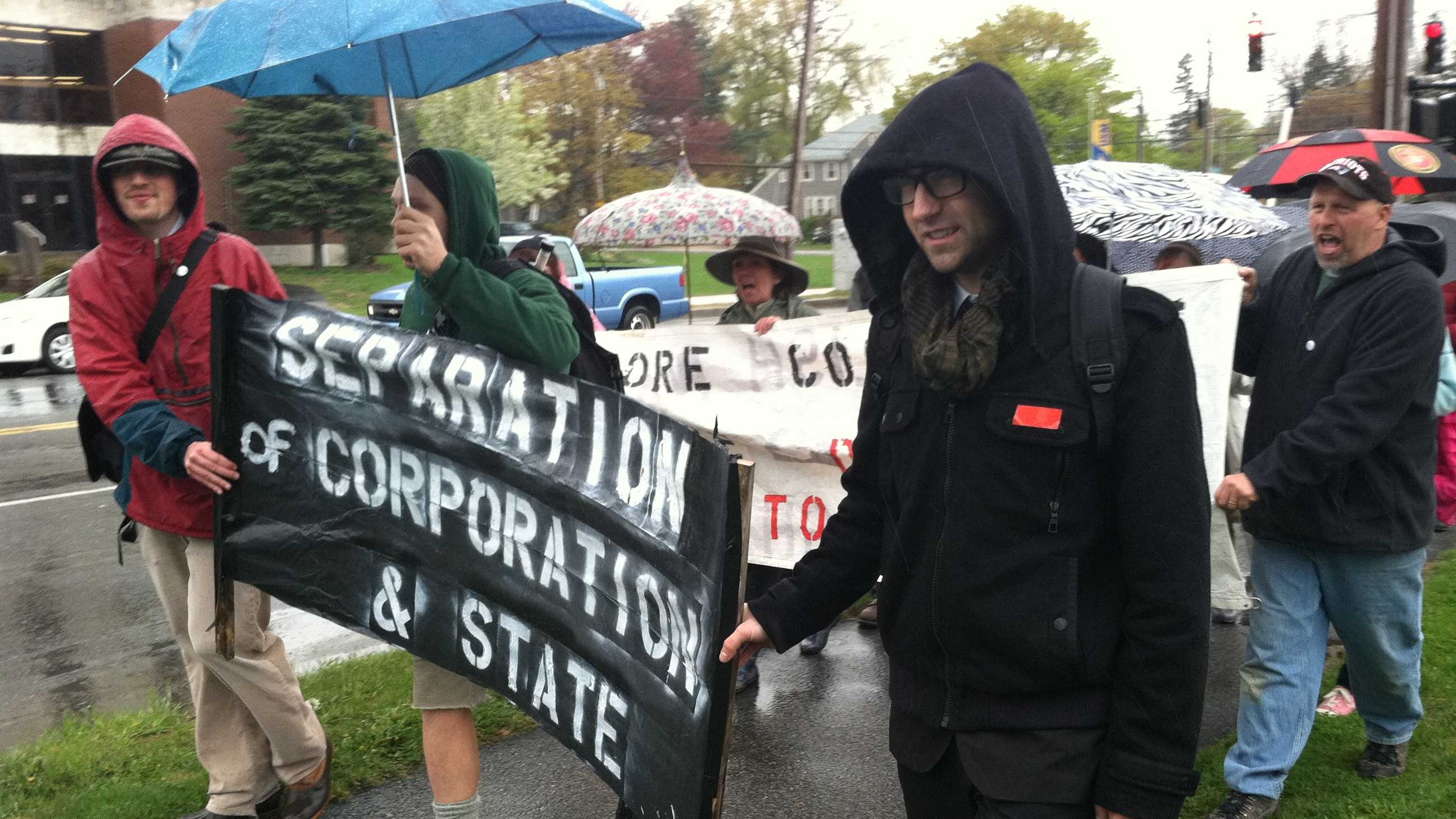 The students joined members of OccupyMaine for a rally in Congress Square.