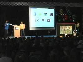 Google held an assembly at Cape Elizabeth Middle School to announce a student was a semifinalist in its Doodle 4 Google contest.