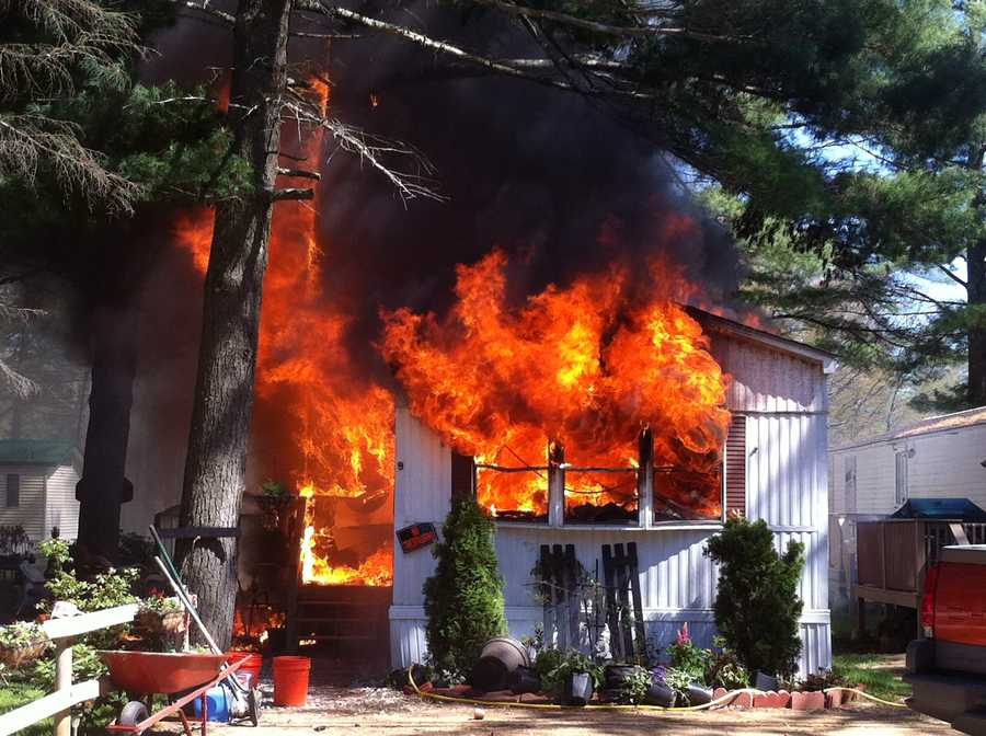 An afternoon fire destroyed a home in Lebanon on Saturday.