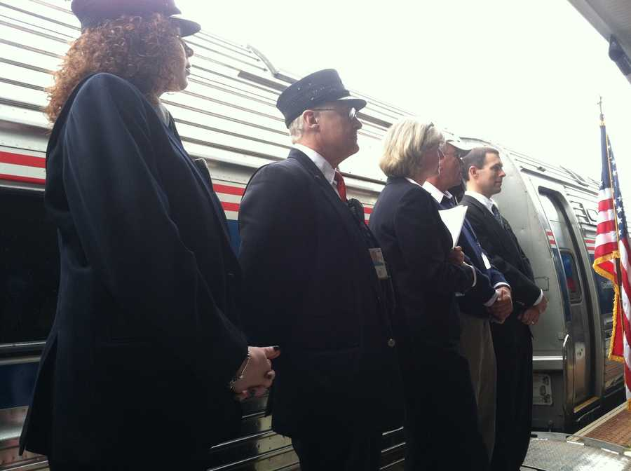 Transportation officials opened two platforms that will service passenger rail service in Brunswick and Freeport.