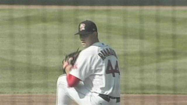 The Portland Sea Dogs beat New Britain twice on Saturday by 4-3 scores.