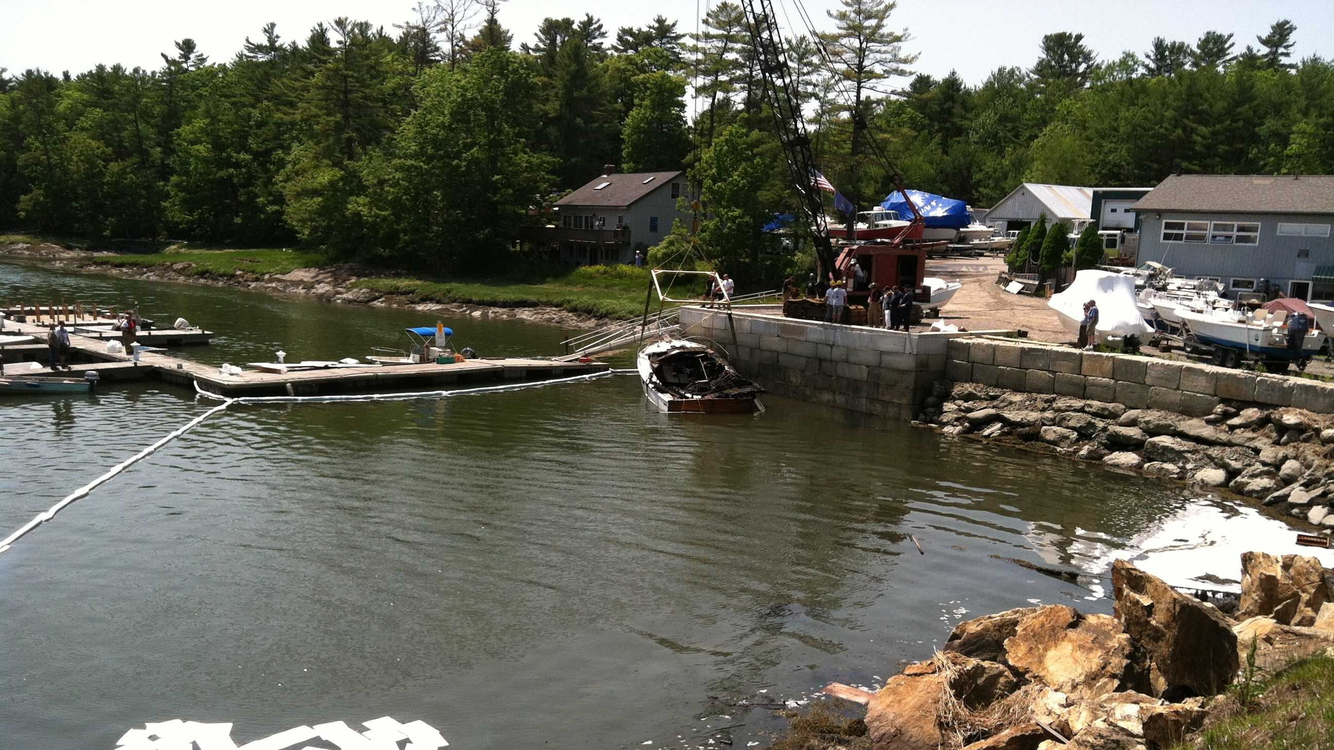 Two people were injured Monday when a boat exploded in Brunswick.