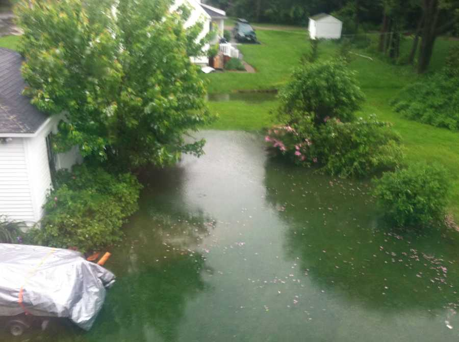This backyard in Portland is flooded due to the rain.