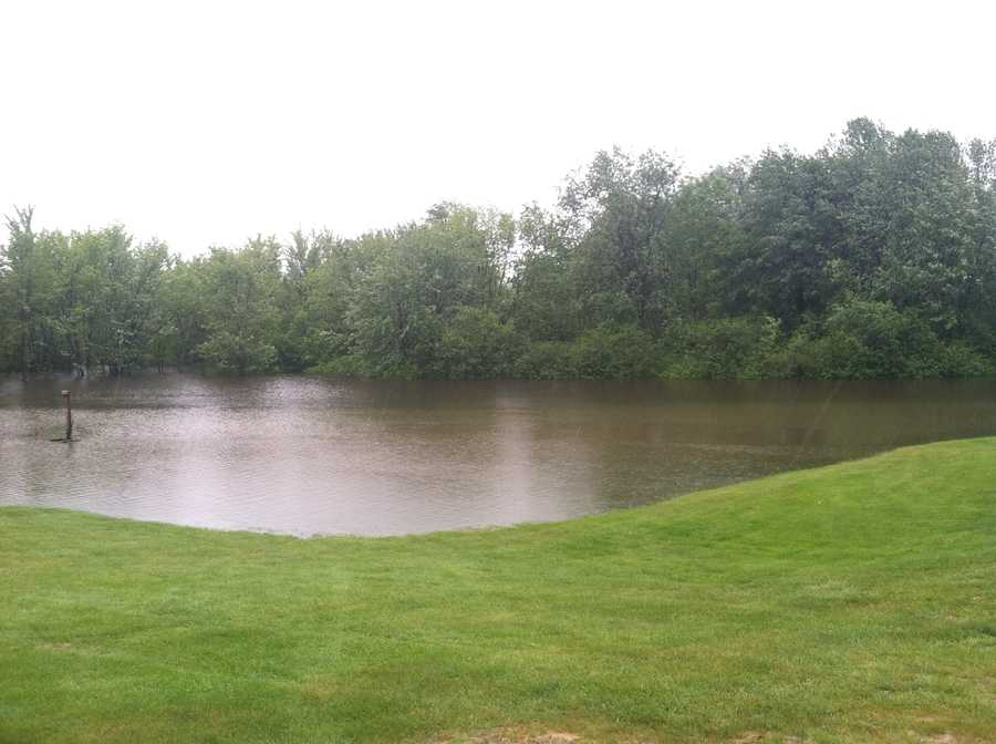 A farm on Route 124 in Minot was flooded by the rain.