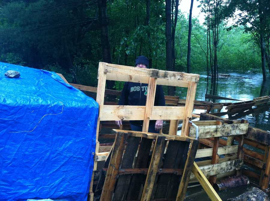 Brian and Michelle Farrington have built makeshift pens for their pigs and chickens