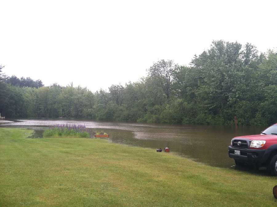 The farm's pasture has turned into a river.