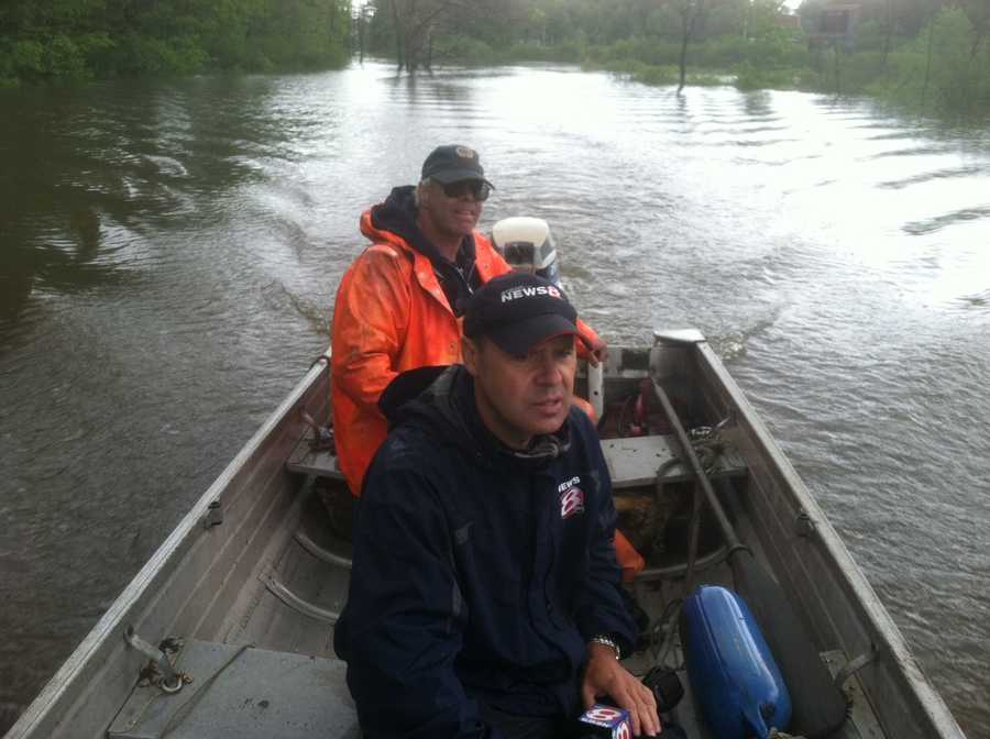 News 8's Norm Karkos looks at the flooding in Bath by boat.