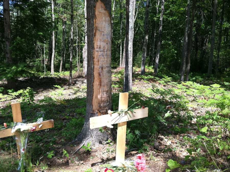 A memorial has been erected at the accident scene.