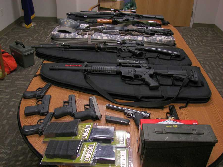Police say Courtois was going 112 mph on the Maine Turnpike and had an AK-47 assault weapon, four handguns and several boxes of ammunition inside his car.