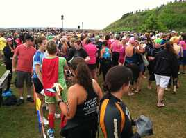 Thousands of women and volunteers gather before the race.