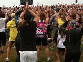 A flash mob entertains everyone at the Tri For a Cure.